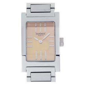 Hermes Pink Stainless Steel Tandem TA1.210 Women's Wristwatch 19 MM