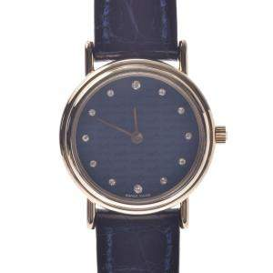 Hermes Blue Diamonds Gold Tone Stainless Steel Limited Edition Women's Wristwatch 23 MM