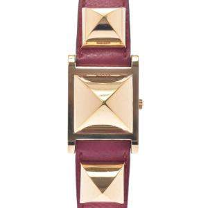 Hermes White Gold Plated Steel Medor Women's Wristwatch 23 MM