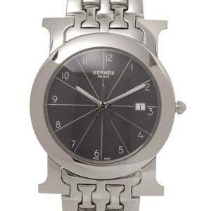 Hermes Black Stainless Steel H Rondo HR1.710 Women's Wristwatch 30 MM