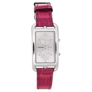 """ساعة يد نسائية هيرمس """"كاب كود دو تيم سي سي3.510"""" جلد تمساح و ستانلس ستيل فضية 25.50 مم"""