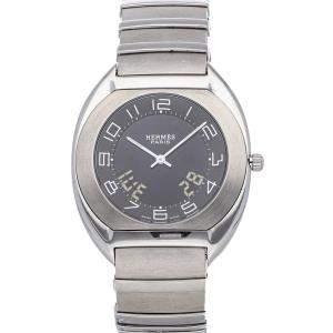 Hermes Black Stainless Steel Espace ES1.710.330 Women's Wristwatch 38 MM