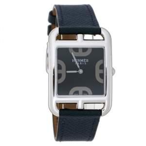 """ساعة يد نسائية هيرمس """"كاب كود سي سي3.710"""" جلد و ستانلس ستيل زرقاء 29 مم"""