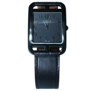 ساعة يد نسائية هيرمس كيب كود ستانلس ستيل سوداء 33 × 33 مم