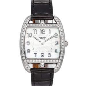 ساعة يد نسائية هيرمس كيب كود تونو سي تي1.730.212/أم ان اوه ستانلس ستيل ألماس بيضاء 30 × 33 مم