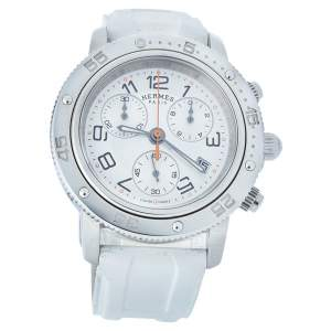 Hermes Silver Stainless Steel & Rubber Clipper Chronograph CP2.410 Unisex Wristwatch 36 mm