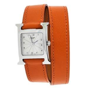 ساعة يد نسائية هيرمس هور  H HH1.210  ستانلس ستيل جلد ملتف فضية 21 مم