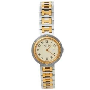 ساعة يد نسائية هيرمس كليبر ستانلس ستيل ثنائية اللون كريمي 30 مم