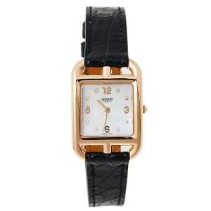 ساعة يد نسائية هيرمس كاب كود دبليو048310دبليو دبليو00 ألماس جلد ذهب وردي عيار 18 صدف 23 مم