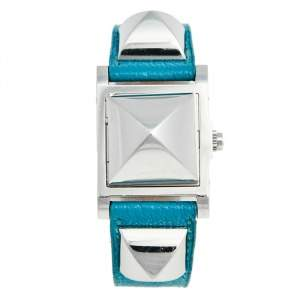 Hermes Silver Stainless Steel Leather Medor Me2.210 Women's Wristwatch 23 mm