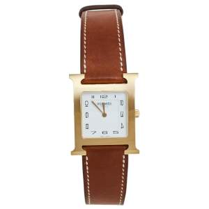 Hermes White Gold Plated Stainless Steel Leather Heure H HH1.501 Women's Wristwatch 26 mm