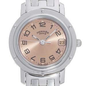 Hermes Pink Stainless Steel Clipper CL4.210.431.13758 Women's Wristwatch 24 MM