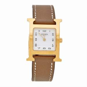 Hermes White Yellow Gold Plated Stainless Steel Leather Heure H HH1201 Women's Wristwatch 21 mm