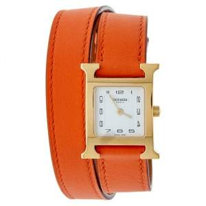 Hermes White Gold Plated Stainless Steel Leather Double Tour HS036737WW00 Women's Wristwatch 21 mm