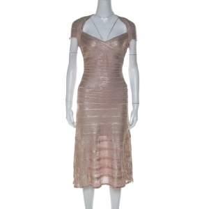 Herve Leger Rose Gold Bandage Sweetheart Neckline Emilia Dress M