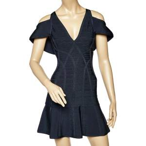 Herve Leger Navy Blue Knit Flared Bandage Mini Dress XS