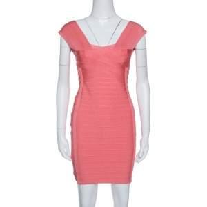 Herve Leger Blush Peach Sleeveless Bandage Dress S