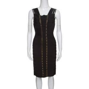 فستان هيرفي ليجي غاما باندج تفاصيل وصلة سلسلة معدن أسود M