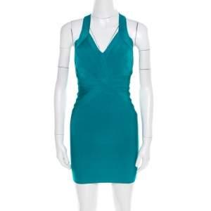 فستان قصير هيرفي ليجي بانديدج بظهر متقاطع أزرق مخض XS