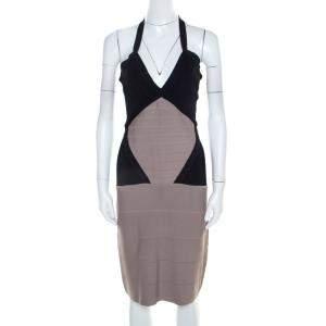 Herve Leger Colorblock Knit Halter Neck Bandage Dress S