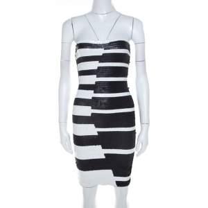 فستان كوكتيل هيرفي ليجي بيانو ترتر أسود وأبيض بلا حمالات XS