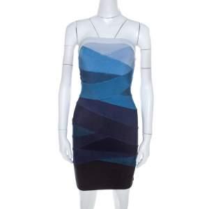 Herve Leger Ombre Blue Knit Strapless Bandage Mini Dress S