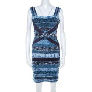 فستان بانديدج هيرفي ليجي تريكو أزرق رقع دينم مزينة XS