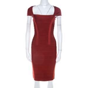 فستان بانديدج هيرفي ليجي تريكو برتقالي محمر أكمام قصيرة Xs