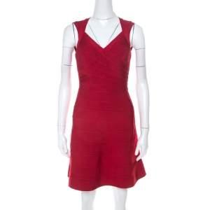 Herve Leger Lipstick Red Sleeveless A Line Bruna Bandage Dress XXS