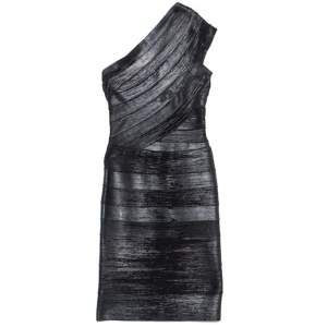 Herve Leger Black Foil Printed One Shoulder Josephine Dress XXS