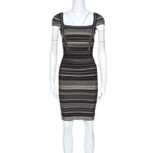 Herve Leger Bicolor Striped Sandra Bandage Dress M