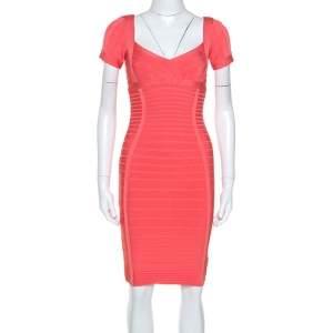 Herve Leger Coral Pink Cold Shoulder Bandage Dress S