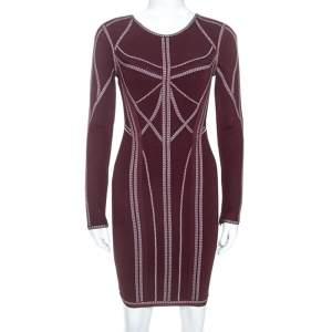 Herve Leger Burgundy Long Sleeve Metallic Trim Elaina Bodycon Dress XS