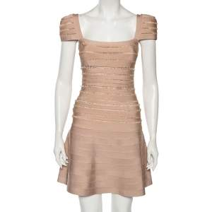 Herve Leger Blush Pink Spandex Bead Embellished Cap Sleeve Top & Cecilia Skirt Set S