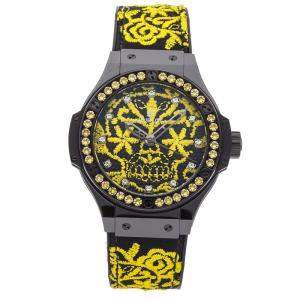 Hublot Black/Yellow Ceramic And Yellow Sapphire Bezel Big Bang Broderie Sugar Skull Fluo Sunflower343.CY.6590.NR.1211 Women's Wristwatch 41 MM