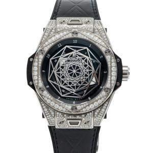 Hublot Black Big Bang Sang Bleu Steel Pave Diamond Watch 39MM