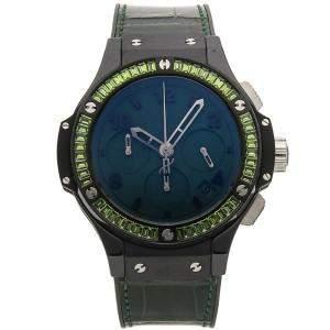 Hublot Green Sapphire Blacksteel Big Bang Tutti Frutti Chronograph 341.CV.5290.LR.1917 Women's Wristwatch 41 MM