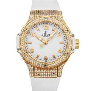 Hublot White Diamonds 18K Rose Gold Big Bang 361.PE.2010.RW.1704 Women's Wristwatch 38 MM