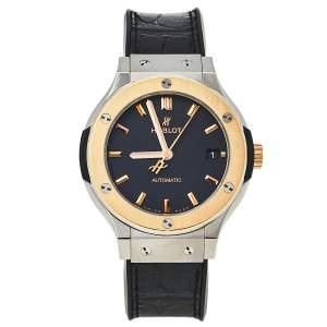 ساعة يد للجنسين هوبلت كلاسيك فوجن أوتوماتيك تيتانيوم و ذهب وردي عيار 18 سوداء 38.5 مم