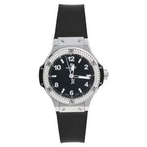 Hublot Black Stainless Steel Rubber Diamonds Big Bang 361.SX.1270.RX.1104 Women's Wristwatch 38 mm