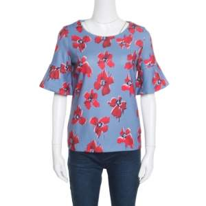 Hugo by Hugo Boss Blue Floral Printed Flared Sleeve Namilla Top XS