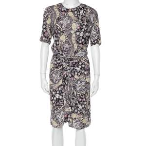Isabel Marant Etoile Black Printed Twill Draped Detail Bardeny Mini Dress S