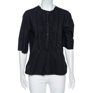 Isabel Marant Etoile Black Cotton Pintuck Embroidered Detail Blouse S