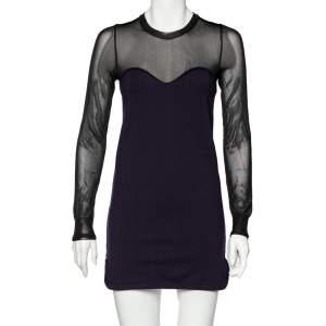 Isabel Marant Purple Wool Blend Sheer Yoke Aglaee Mini Dress M