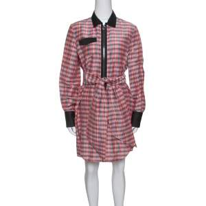 Isabel Marant Checked Ramie and Silk Contrast Trim Belted Mofira Shirt Dress M