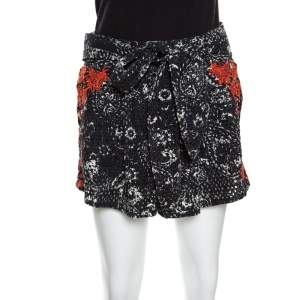 Isabel Marant Black and Red Eyelet Embroidered Cotton Nash Shorts M