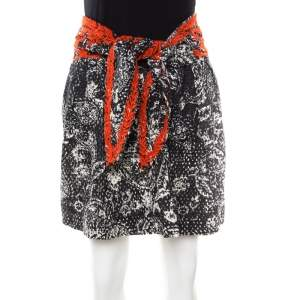 Isabel Marant Black and Red Eyelet Embroidered Cotton Tie Up Detail Pleated Skirt S