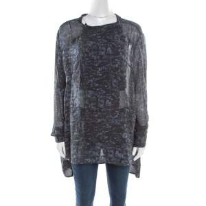 Isabel Marant Ash Black Abstract Print Sheer Silk Tunic Top L