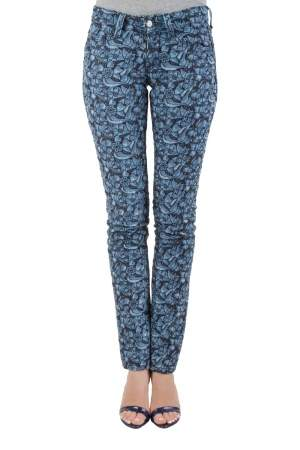 Isabel Marant Etoile Indigo Eyelet Embroidered Distressed Denim Skinny Jeans S