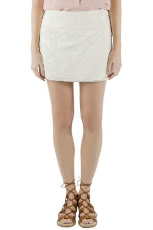 Isabel Marant Cream Embroidered Silk Andy Wrap Mini Skirt S